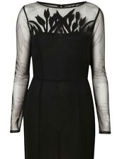 TOPSHOP SMART BLACK LACE MESH CUT OUT PENCIL WIGGLE FITTED PARTY DRESS NEW