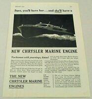 1945 Print Ad New Chrysler Marine Engines World War 2 Boat