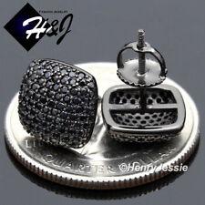 925 STERLING SILVER 10MM SQUARE BLACK LAB DIAMOND SCREW BACK STUD EARRING*E147