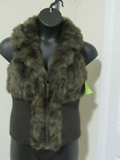 Dolce Cabo Womens Faux Fur Vest Size XL Brown Open Style NWT