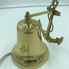 "NAUTICAL Marine NAVIGATION 9/"" Dia Shiny Solid Brass Large SHIP BELL w// BRACKET"