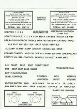 JUKEBOX  WURLITZER  JUKEBOX  1700  OR  1800  AMPLIFIER DECALS