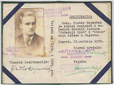 Very rare Jutarnji list Journalist identification document 1938 - Zagreb Croatia