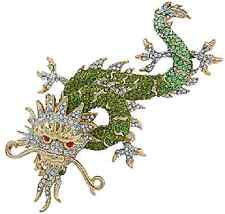 Butler and Wilson Green Enamel Crystal Chinese Dragon Brooch NEW