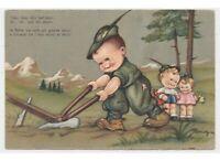1942 Mariapia Tarjeta Postal Antigua Niños Soldado Militare Alpino Arado Campo