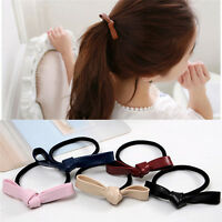 Fashion Hair Accessories Women Leather Bow Rubber Bands Elastic Hair Tie Rope BD