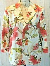 Alfred Dunner Womens Blazer Sz 18 Pink Floral Open Front Lined Jacket Hawaiian