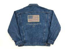 Vintage 80s HALEMAN X HARLEY-DAVIDSON Denim Trucker Jacket LARGE Blue Embroidery