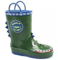Cotswold PUDDLE Boys Junior Kids Animal Croc Wellington Boots Crocodile Green