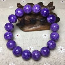 13.9mm Top Quality Natural Purple Charoite Crystal Round Beads Bracelet AAAA
