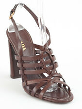 New  Prada Brown Leather Sandals Size 38.5 US 8.5 Retail $690
