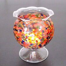 Windlicht Windlichtkugel multicolor mit Fuß Teelichthalter aus Glas Handarbeit