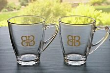 Set of 2 BAILEY'S Large Glass Coffee Hot Beverage Mugs / Cups  12 oz