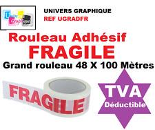 1 rouleaux d' Adhésif 48 mm  Scotch blanc imprimé FRAGILE en rouge -