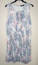 Tokito dress size 14 pale blue & pink on white flared pleat skirt NEW with tags