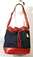 "Dooney & Bourke USA Bucket Tote Denim Red Leather Purse Drawstring Handbag 14"""