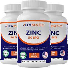 3 Pack Vitamatic Zinc 50mg as Zinc Gluconate Immunity Supplement total 360 Tabs