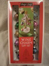 New Art Glass White Tree W/ 12 Wine Charms