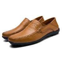 Men's Leather Casual Shoes Summer Breathable Driving Loafers Slip on Moccasins