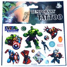 'THE AVENGERS' TATTOO SHEET Hulk Thor Captain America Boys Kids Party Movie Gift