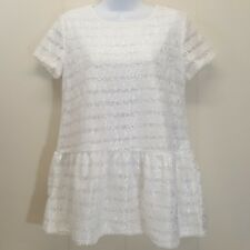 Ampersand Ave MEDIUM Shirt Top Blouse Peplum Lace Ivory Lacy Sheer Sleeves