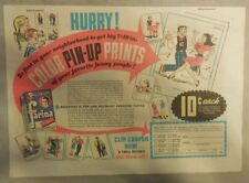 "Pillsbury Cereal Ad: ""Comic Strip Pinups! Farina Cereal 1950's 7 x 10 inches"