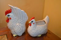 VINTAGE PAIR OF WHITE AND RED RELPO CERAMIC ROOSTER 1950'S  LARGE BOWL