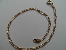 / Ankle Chain Max 24 cm new Gold Coloured Figaro Style Fine Delicate Anklet