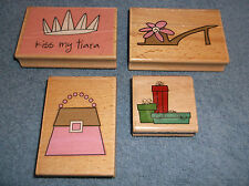 KATIE & CO RUBBER INK STAMPS SET OF 4 - PRESENTS - PURSE - SHOE - KISS MY TIARA