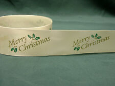 5m WHITE RIBBON WITH GOLD MERRY CHRISTMAS & HOLLY DESIGN - cake decoration/craft