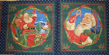 Santa Clause Christmas  Fabric Pillow Cushion Panel Cotton