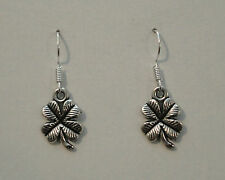 Pair Of Silver Tone Four Leaf Clover Dangle Earrings New