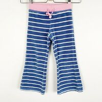 Mini Boden Girls Blue White Pink Striped Terry Towling Pants Size 4-5y