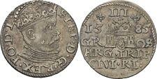 Polen Lettland Riga Stephan Bathory, 1576-1586 Dreigröscher Trojak 1585 #Alb.607