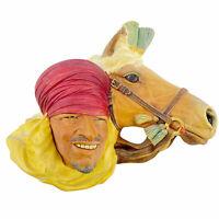 RARE VTG Bosson's Chalkware Head Arab Man w/ Horse Congleton England Shepherd