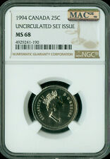 1994 CANADA 25 CENTS NGC MAC MS68 PQ 2ND FINEST REGISTRY SPOTLESS   *