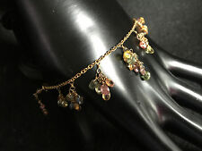 14k Yellow Gold Gemstone Dangling Bracelet Multi-Color Tourmaline Bracelet FPJ