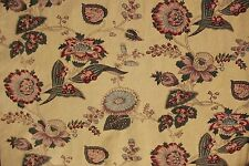 French fabric gently faded floral design butter yellow linen cotton mix material