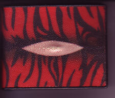 Red Black zebra striped Stingray skin wallet unique design handmade Thailand