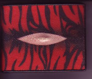Red Black zebra striped Stingray skin wallet unique design handmade