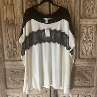 NWT Chico's Women's Size S/M Harper Lace Poncho Ivory Black White Lace Knit