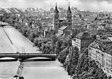 Germany Munich Sides of the Isar Bridge River Church General view