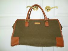 Adrienne Vittadini Suede Overnight Bag Carry on Luggage Weekender Travel Duffel