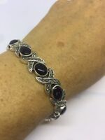 Vintage Onyx Bracelet Deco Genuine Black Onyx Marcasite 925 Sterling Silver