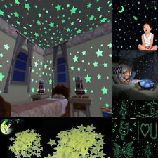 100pcs Pack Glow In The Dark 3D Stars Moon Stickers Bedroom Wall Room Decor DIY