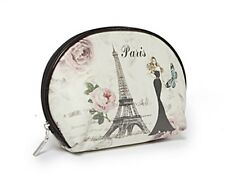 Cosmetic Bag - Eiffel Tower, Lady in Black Gown, Pink Flowers & Butterfly Design