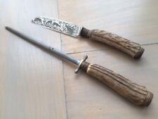 Anton Wingen jr Solingen Germany Rostfrei Othello Knife Set Real Carved Stag