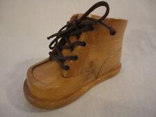 Vintage Carved Wood Baby Childrens Shoe Candle Holder