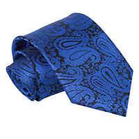 DQT Woven Floral Paisley Royal Blue Formal Wedding Mens Classic Tie