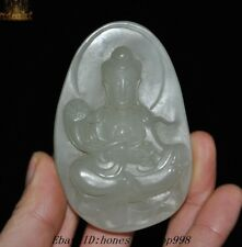 Antique Chinese Temple Hetian Jade Carved Guanyin Kwan-yin Statue Amulet pendant